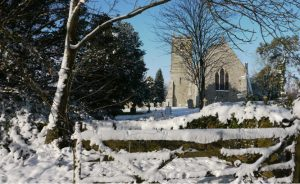 Photo of All Saints Church in the snow