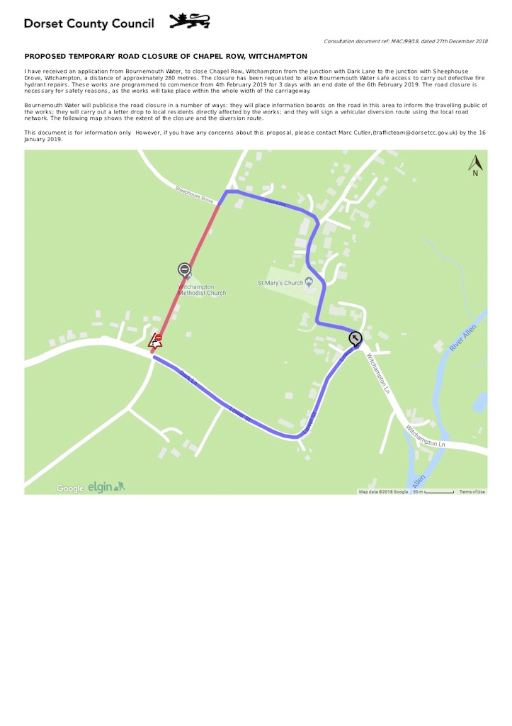 Chapel Row temporary road closure 2019