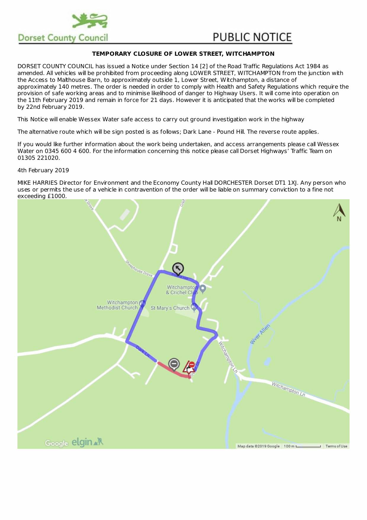 Temporary closure of Lower Street, Witchampton, Feb19