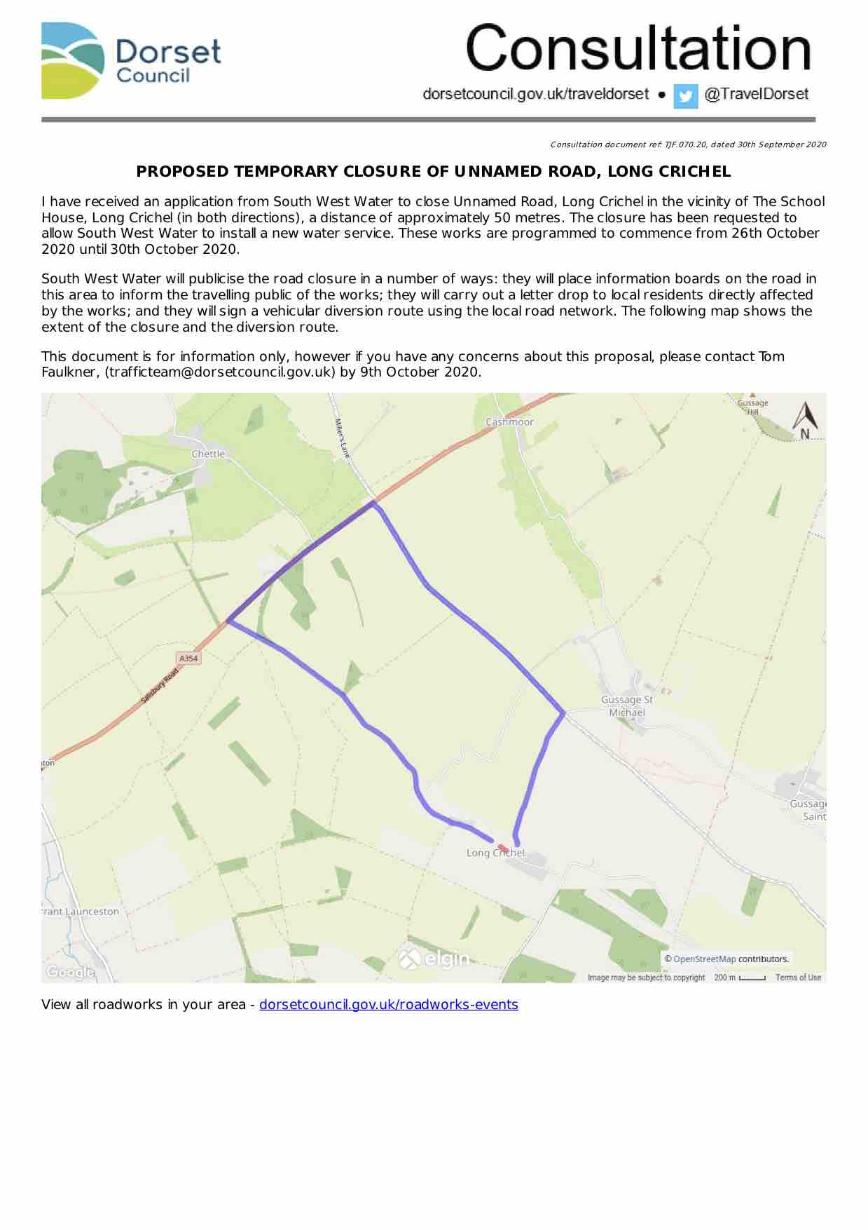 Image version of the consultation document including map of diversion/closure