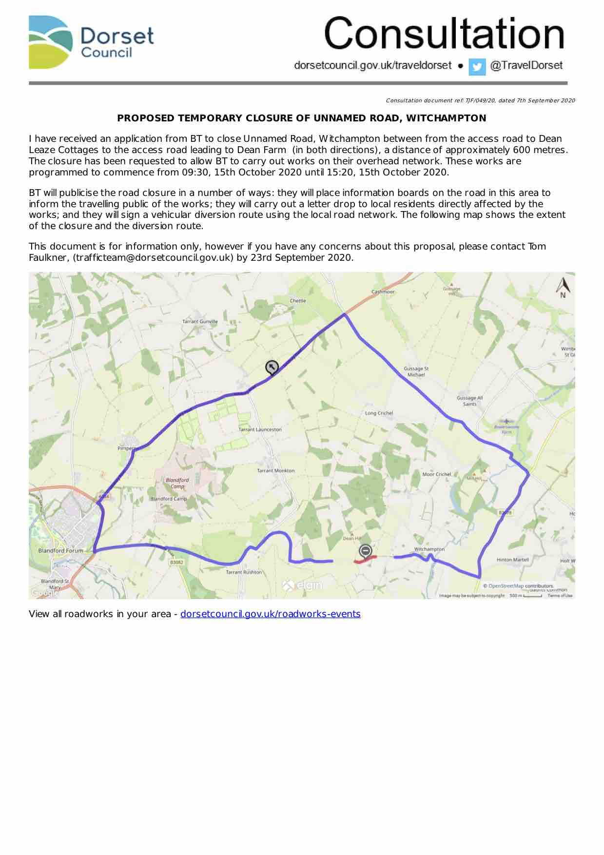 Image version of the official consultation document showing the route map (links to the PDF version)