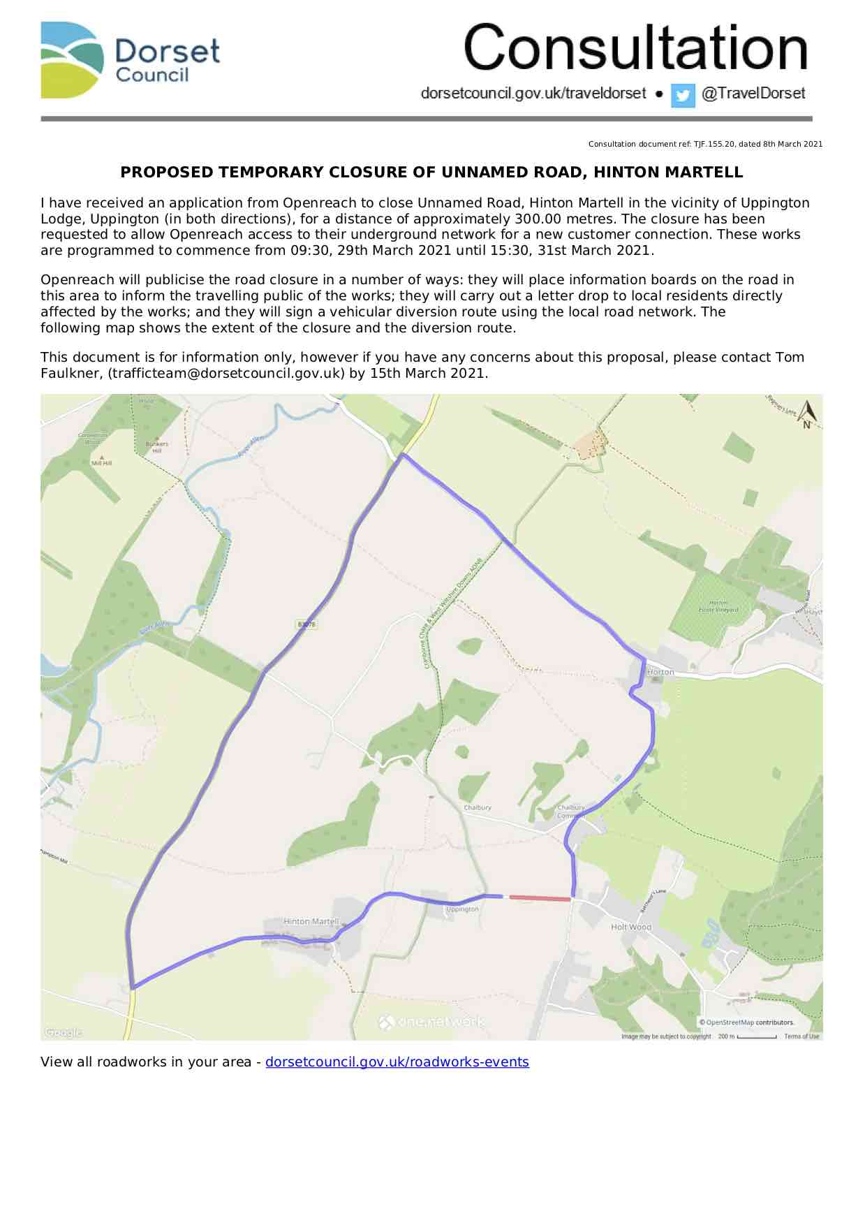 Image of consultation notice including the map with diversions