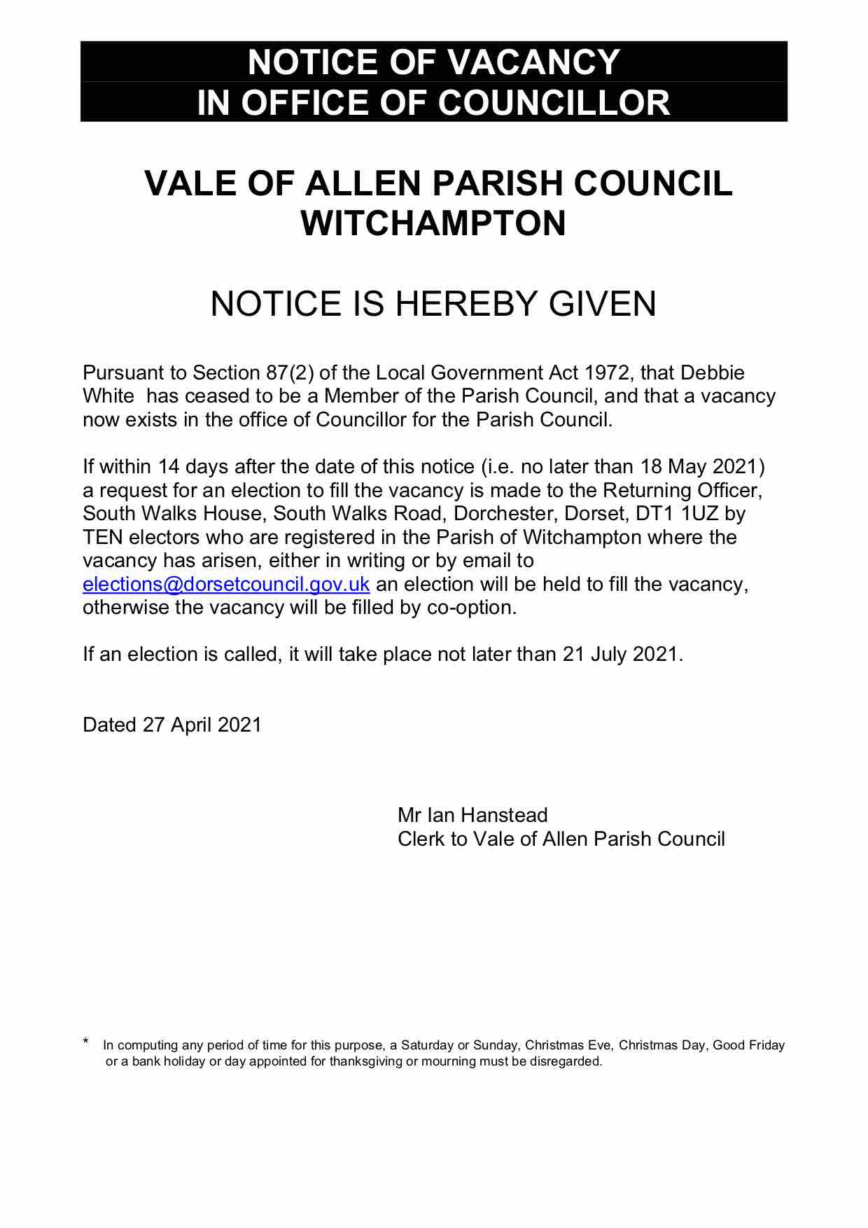 Image of Vacancy notice (text of which is available in PDF and text in the blog post)