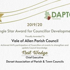 """Image copy of certificate showing """"Single Star Aware for Councillor Development"""""""