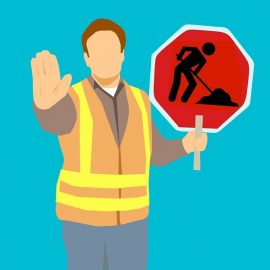 decorative image showing a man holding a roadworks sign